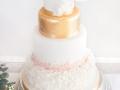Bröllopstårta, guld, ruffles